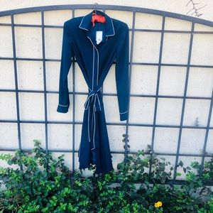 Navy Long-Sleeved Brooks Brothers Wrap Dress